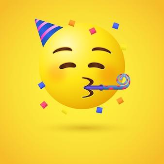 Feest emoji gezicht of emoticon met met feesthoorn en hoed