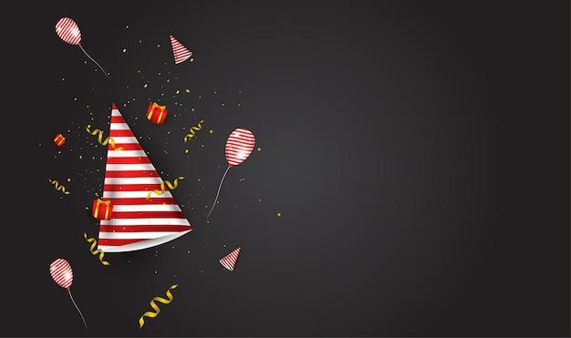 Feest-evenement complementair ontwerp, bevat feestmutsen, geschenkdozen, linten en ballonnen