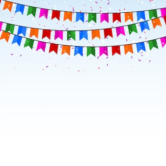 Feestachtergrond met confettien en vlaggen