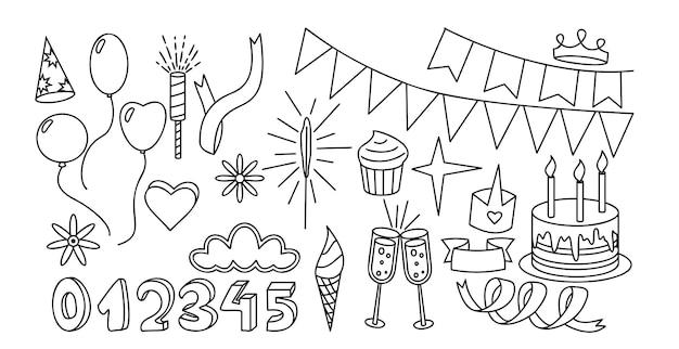 Feestartikelen instellen geïsoleerde vectorillustratie geschenkballonnen zoete cupcakes en feesttaart