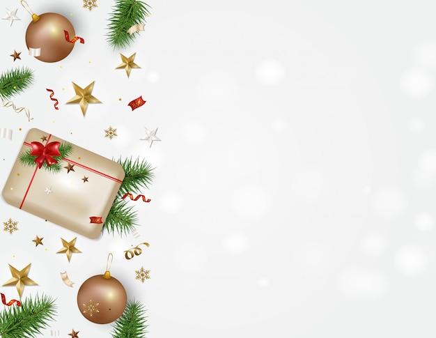 Feestdagen achtergrond met ruimte voor tekst. prettige kerstdagen en gelukkig 2020 nieuwjaar wenskaart. geschenkdoos, kerstballen, sneeuwvlokken, serpentijn, confetti, 3d sterren ...