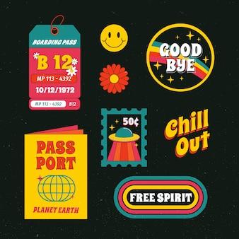Feestdagen stickercollectie in jaren 70 stijl