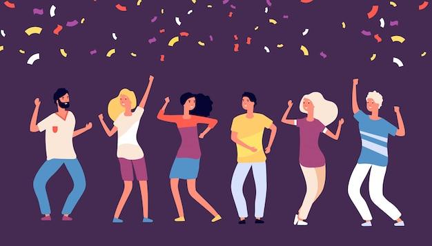 Feestdansers. de gelukkige jongeren dansen, vieren op bedrijfsvakantie, de vrolijke vrouwenman danst met dalend confettienconcept