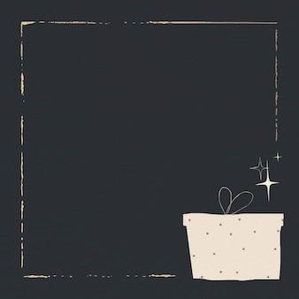 Feestelijk cadeau gouden frame effen donkere achtergrond voor post op sociale media