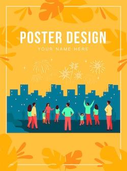 Feestelijk concept van de stadsnacht. menigte van mensen met kinderen vieren evenement en kijken naar vuurwerk in de lucht boven stadsgezicht. illustratie voor feest, vakantie, stedelijke showonderwerpen