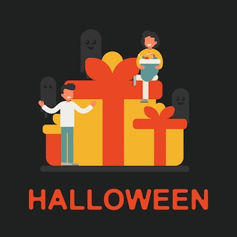 Feestelijk concept van een klein personage vieren halloween