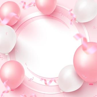 Feestelijk kaartontwerp met wit frame, roze en witte ballonnen, vallende confetti op roze achtergrond.