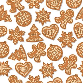 Feestelijk kerstmis naadloos patroon met peperkoek