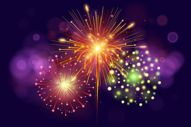 Feestelijk kleurrijk vuurwerk op donkerblauw