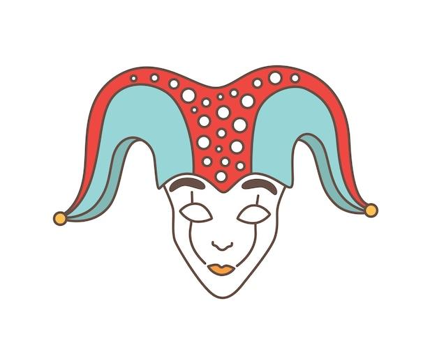 Feestelijk masker van nar, harlekijn, bedrieger, hansworst of droll geïsoleerd op wit