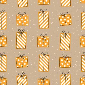 Feestelijk naadloos patroon met gele geschenkdozen op een beige achtergrond. herhalend vectorpatroon