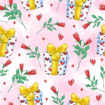Feestelijk naadloos patroon met geschenkdozen, harten, strikken en gestileerde rozen.
