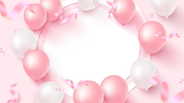 Feestelijk ontwerp van de banner met wit frame, roze en witte ballonnen, vallende confetti op roze achtergrond.