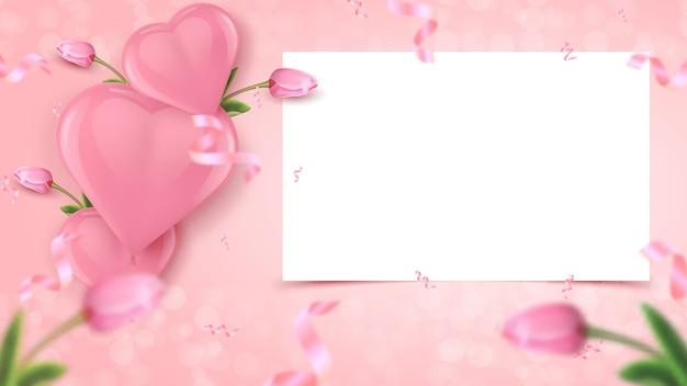 Feestelijk ontwerp van de banner met wit frame, roze hartvormige luchtballonnen, tulpen en vallende folie confetti op roze achtergrond.