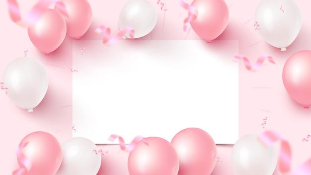 Feestelijk ontwerp van de banner met wit vel, roze en witte lucht ballonnen, vallende folie confetti op roze achtergrond.