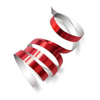 Feestelijk rood lint op witte achtergrond. realistische streamers. carnaval-feestkronkelige decoratie voor uw banner en geweldig kaartontwerp.