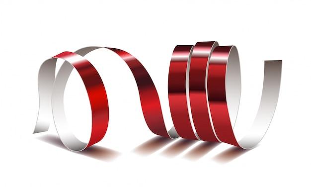 Feestelijk rood lint op witte achtergrond. realistische streamers. carnival party serpentine decoratie voor uw en greating card.
