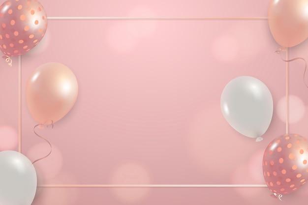Feestelijk roze nieuwjaar vector frame viering ballonnen bokeh achtergrond