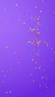Feestelijke aansprekende confetti. viering sterren. kleurrijke confetti op violette achtergrond. vlekkeloze feestelijke overlay-sjabloon. verticale vectorachtergrond.