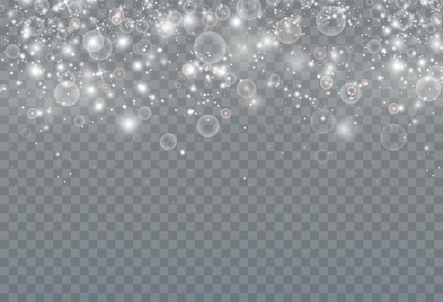 Feestelijke abstracte achtergrond van glanzend sterrenstof en kleine realistische bubbels.