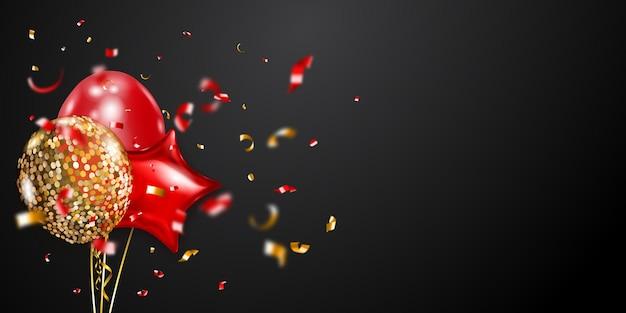 Feestelijke achtergrond met gouden en rode luchtballonnen en glanzende stukjes serpentijn. vectorillustratie voor posters, flyers of kaarten.