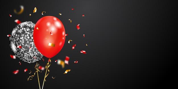 Feestelijke achtergrond met zilveren en rode luchtballonnen en glanzende stukjes serpentijn. vectorillustratie voor posters, flyers of kaarten.
