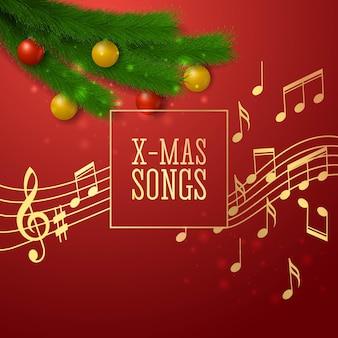 Feestelijke achtergrond rond het thema kerstliedjes, realistische stijl. vector illustratie