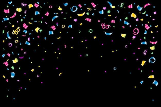 Feestelijke achtergrondbanner met gekleurde confetti en slingers op een zwarte of witte achtergrond