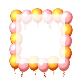 Feestelijke ballon in een leeg frame, kleur goud en roze. vector illustratie