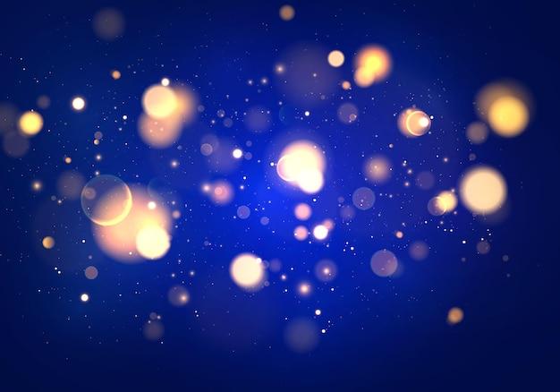 Feestelijke blauwe en gouden lichtgevende lichten bokeh.