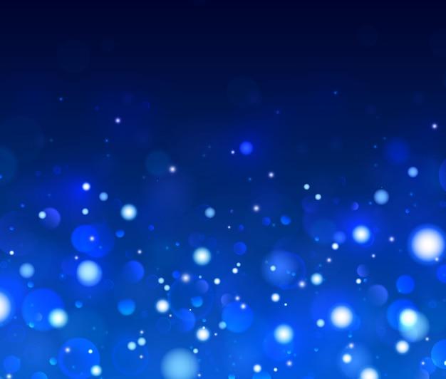 Feestelijke blauwe en witte lichtgevende achtergrond, lichten bokeh.
