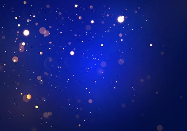 Feestelijke blauwe, paarse en gouden lichtgevende achtergrond met kleurrijke lichten bokeh. concept xmas wenskaart. magische vakantie poster, banner. nacht helder goud schittert licht abstract