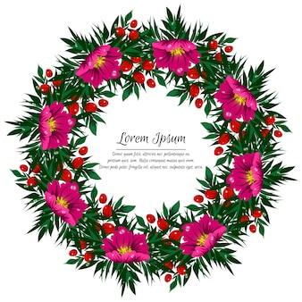 Feestelijke bloemencirkel met tropische bloemen