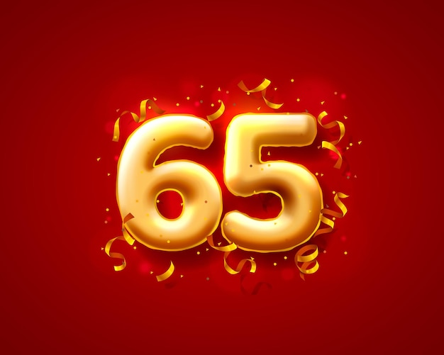 Feestelijke ceremonie ballonnen, 65e nummer ballonnen.