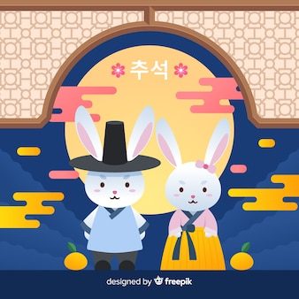 Feestelijke chuseok dag konijnen plat ontwerp