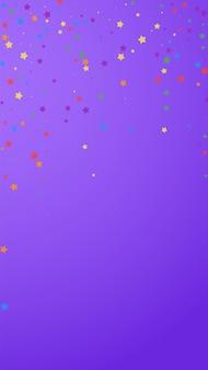Feestelijke dramatische confetti. viering sterren. vrolijke sterren op violette achtergrond. glamoureuze feestelijke overlay-sjabloon. verticale vectorachtergrond.