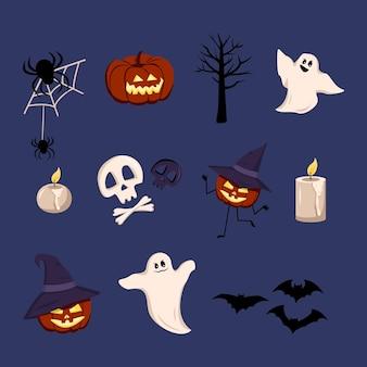 Feestelijke elementen voor halloween-lantaarns van pompoenen met gezichten
