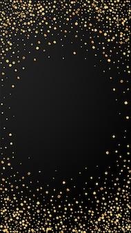 Feestelijke energieke confetti. viering sterren. gouden confetti op zwarte achtergrond. feestelijke overlay-sjabloon ophalen. verticale vectorachtergrond.