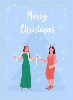 Feestelijke gebeurtenis platte wenskaartsjabloon. vrolijk kerstfeest. winter vakantie feest. brochure, boekje conceptontwerp van één pagina met stripfiguren. gelukkig nieuwjaar flyer, folder