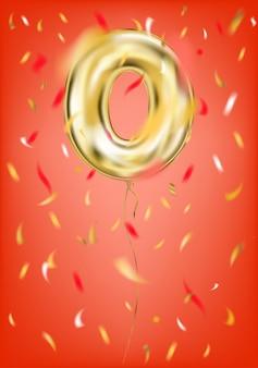 Feestelijke gouden ballon nul cijfer en folie confetti