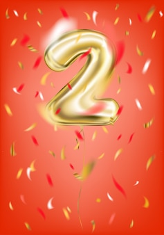 Feestelijke gouden ballon twee cijfers en folie confetti