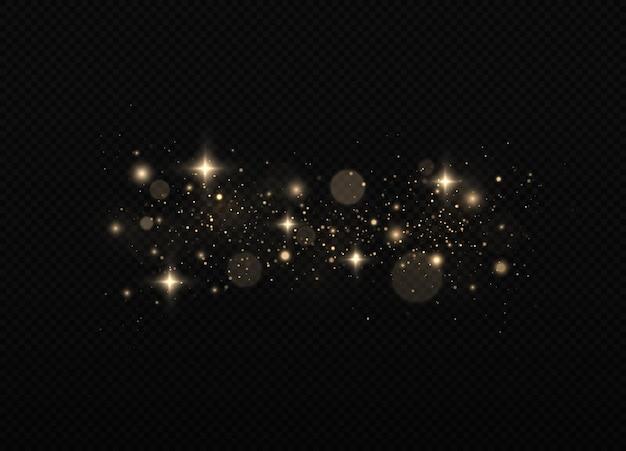 Feestelijke gouden lichtgevende achtergrond met kleurrijke lichten bokeh sprankelende magische stofdeeltjes