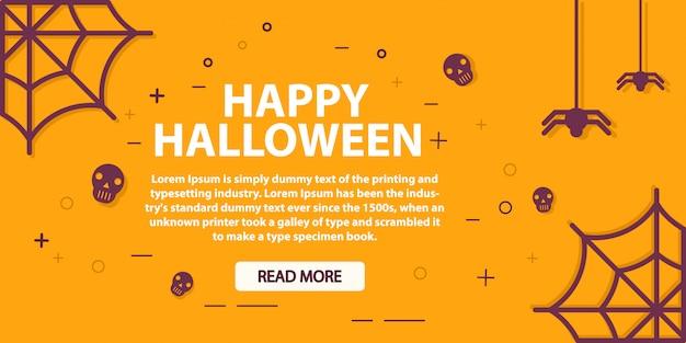 Feestelijke halloween-banner met schedels en spinnen.