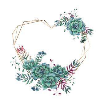 Feestelijke huwelijkskaders met kleurrijke succulents.