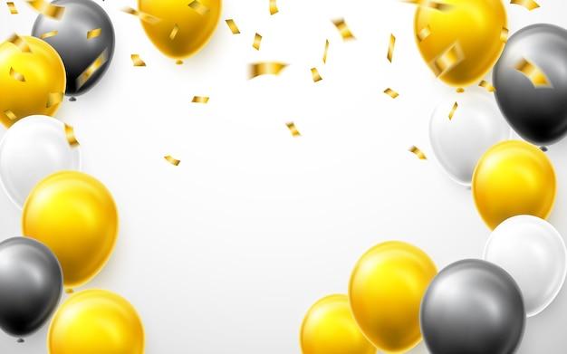 Feestelijke illustratie met witte, gouden, zwarte ballonnen en gouden confetti.