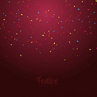 Feestelijke kaart met confetti, partij uitnodiging ontwerpsjabloon. feestelijke viering achtergrond
