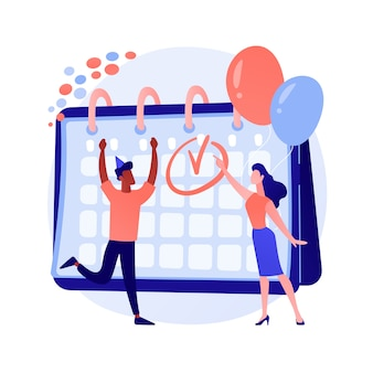 Feestelijke kalendergebeurtenis, feestviering. werkplanning, projectmanagement, deadline-idee. office managers, opgewonden collega's.