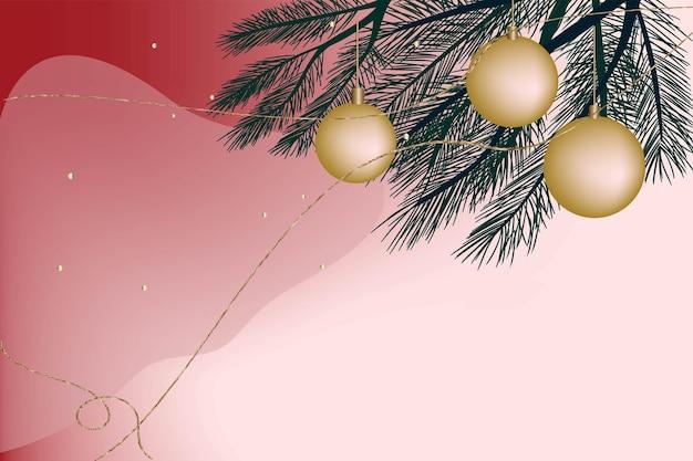 Feestelijke kerst achtergrond briefkaart uitnodiging gradiënt dennentak kerstballen nieuwjaar