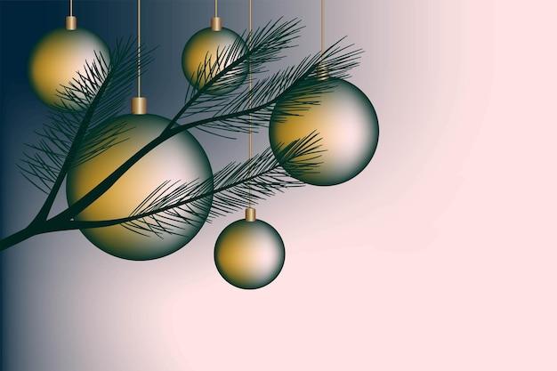 Feestelijke kerst achtergrond briefkaart uitnodiging gradiënt dennentak nieuwjaarsballen