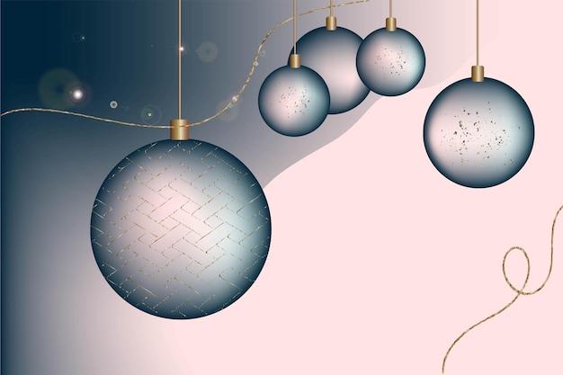 Feestelijke kerst achtergrond briefkaart uitnodiging gradiënt nieuwjaar ballen blauwe en gouden kleur